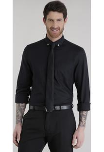 Camisa Comfort + Gravata Em Jacquard Preta