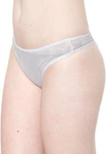 Calcinha Calvin Klein Underwear Fio Dental Tule Branca