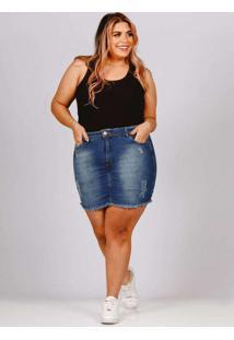 Mini Saia Almaria Plus Size Fact Jeans Azul