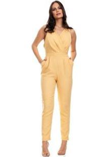 Macacão Clara Arruda Linho Decote Transpasse 80070 - Feminino-Amarelo