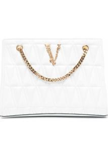 Versace Bolsa Tote Com Logo E Efeito Matelassê - Branco