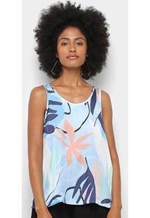 Blusa Mercatto Regata Estampada Feminina - Feminino-Azul Claro