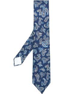 Kiton Gravata De Seda Paisley - Azul