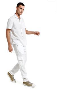 Calça John John Skinny Munster Linho Branco Masculina (Branco, 48)