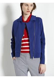 Jaqueta Em Piquê Com Recortes - Azul & Brancalacoste