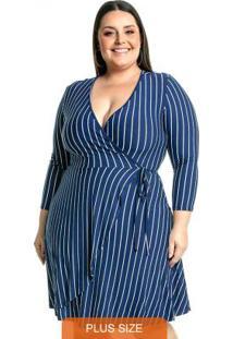 Vestido Com Transpasse Azul