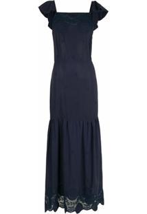 Brigitte Vestido Longo Com Babados - Azul