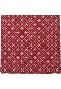 Capa Para Almofada Natal Flocos De Neve- Vermelha & Branmabruk