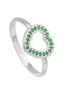 Anel Joia Em Casa Coração Vazado Verde Esmeralda De Prata Rodinada Aro 21 Prata