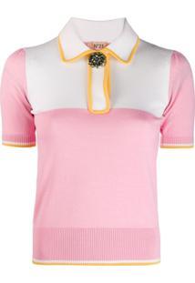 Nº21 Camisa Polo Com Aplicações - Rosa