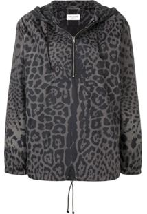 Saint Laurent Leopard Print Hooded Bomber - Cinza
