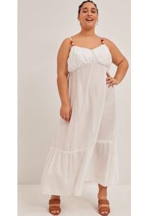 Vestido Longo Liso Em Linho Com Aviamento Nas Alças Curve E Plus Size Branco