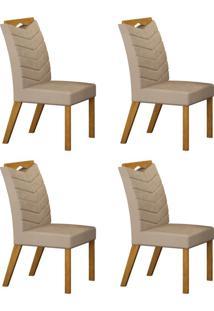 Conjunto Com 4 Cadeiras Verona Imbuia Mel E Veludo Palha