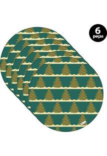 Sousplat Mdecore Natal Arvores De Natal 32X32Cm Verde 6Pçs