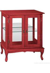 Cristaleira Baixa 2 Portas De Vidro Pés Luiz Xv 1054-E 92 X 80 X 40 Vermelho - Urbe Móveis