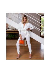 Macacão Miss Misses Skinny Com Costas Nuas Off-White