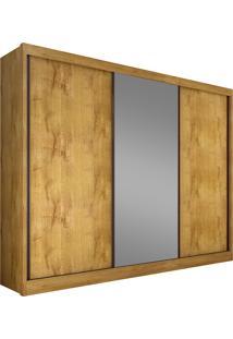 Guarda-Roupa Casal 3 Portas Com Espelho Diamond- Novo Horizonte - Freijo Dourado