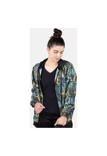Jaqueta Corta Vento Chess Clothing Feminina Leopardos Preto