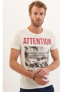Camiseta John John Rg Attention Malha Off White Masculina (Off White, Gg)