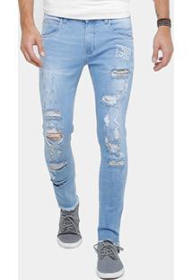 Calça Jeans Skinny Rock & Soda Rasgada Masculina - Masculino