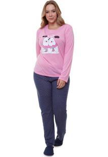 Pijama Feminino Longo Plus Size Ursos Adulto Luna Cuore