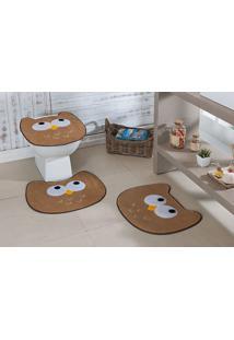 Tapete Jogo Banheiro Formato Coruja Guga Tapetes - Bege