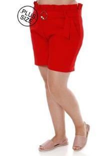 Short De Tecido Plus Size Eagle Rock Feminino - Feminino-Vermelho