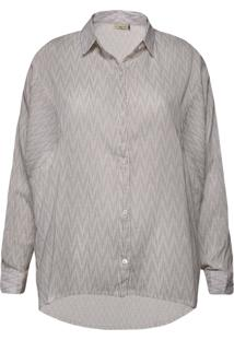 Camisa Feminina Oversized Abertura Lateral Branco