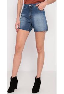 Bermuda Jeans Com Pespontos- Azul- Ennaenna