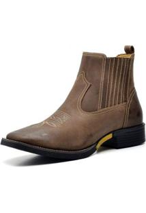 Bota Country Top Franca Shoes Crazy Horse Masculina - Masculino-Cafe