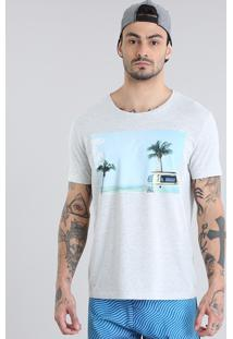 Camiseta Praia Cinza Mescla Claro