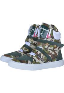 Tênis Sneaker Cheia De Marra Camuflado Verde