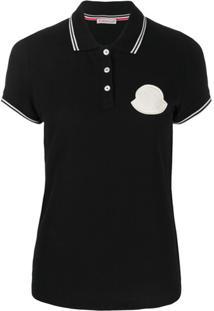 Moncler Camisa Polo Com Patch De Logo - Preto