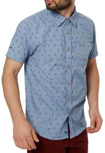 Camisa Manga Curta Masculina Gangster Azul