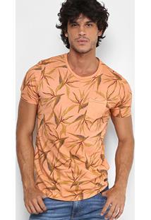 Camiseta Colcci Full Print Flor Tropical Bolso Masculina - Masculino