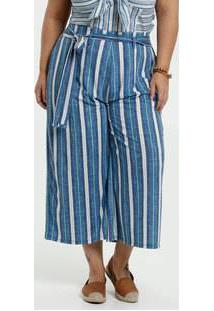 Calça Feminina Listrada Pantacourt Plus Size Marisa