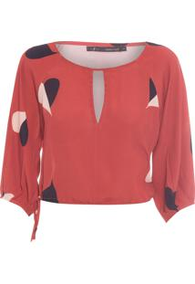 Blusa Feminina Cropped Coração - Vermelho
