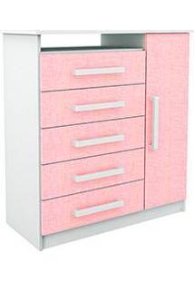 Cômoda Branco/Rosa 5 Gavetas E 1 Porta - Rodial
