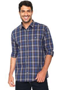 Camisa Polo Wear Reta Xadrez Azul/Cinza