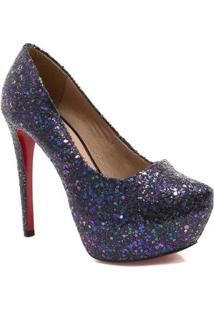 Scarpin Zariff Shoes Pump Glitter - Feminino-Marinho