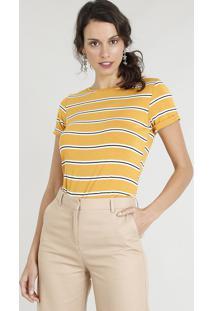 ef5b1f9f97 Blusa Amarela Listras feminina