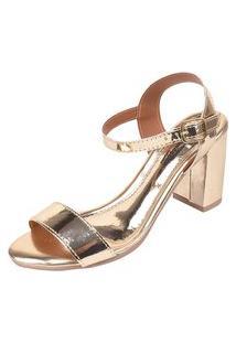 Sandália Romântica Calçados Salto Grosso Dourada