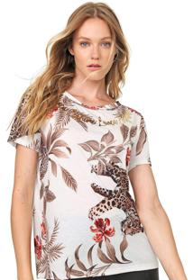 Camiseta Lança Perfume Estampada Off-White/Marrom
