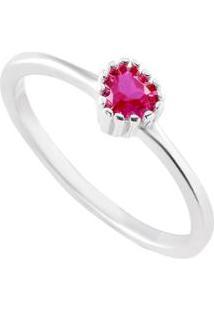 Anel Giullia Ferraz Store Coração Prata 925 Feminino - Feminino-Vermelho