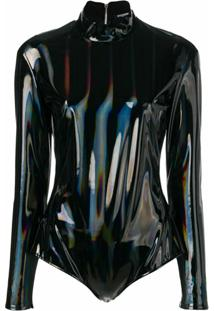 Balmain Hologram Latex Bodysuit - Preto