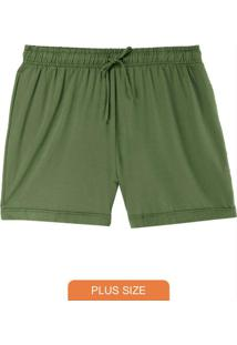 Shorts Verde Running Em Moletinho Plus