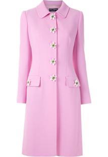 Dolce & Gabbana Sobretudo De Lã Com Aplicações - Rosa