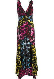 Dvf Diane Von Furstenberg Vestido Gola V De Seda Com Estampa Gráfica - Preto