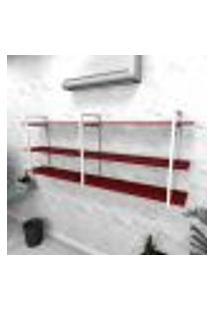 Estante Industrial Escritório Aço Cor Branco 180X30X68Cm Cxlxa Cor Mdf Vermelho Modelo Ind33Vres