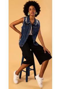 Colete Jeans Alongado Feminino - Feminino